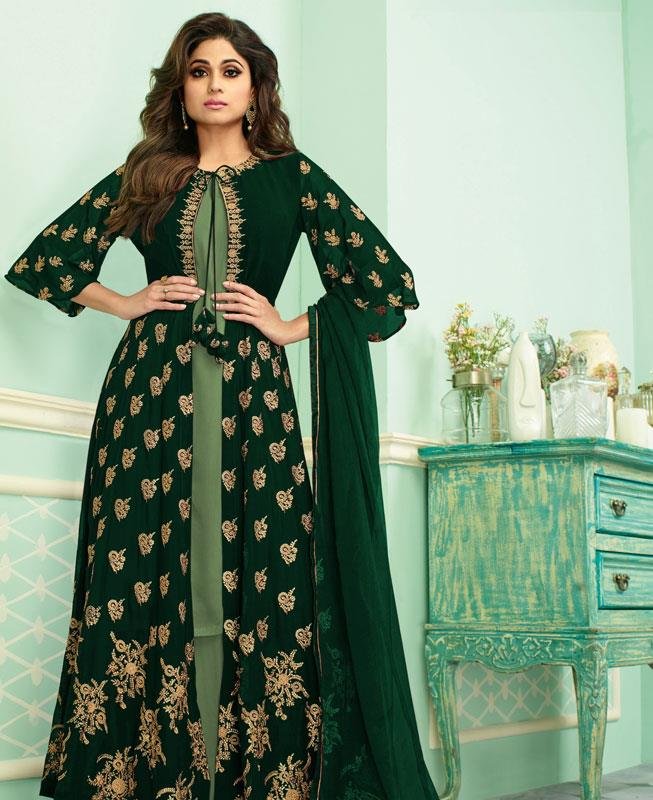 Embroidered Georgette Abaya Style Salwar in Green