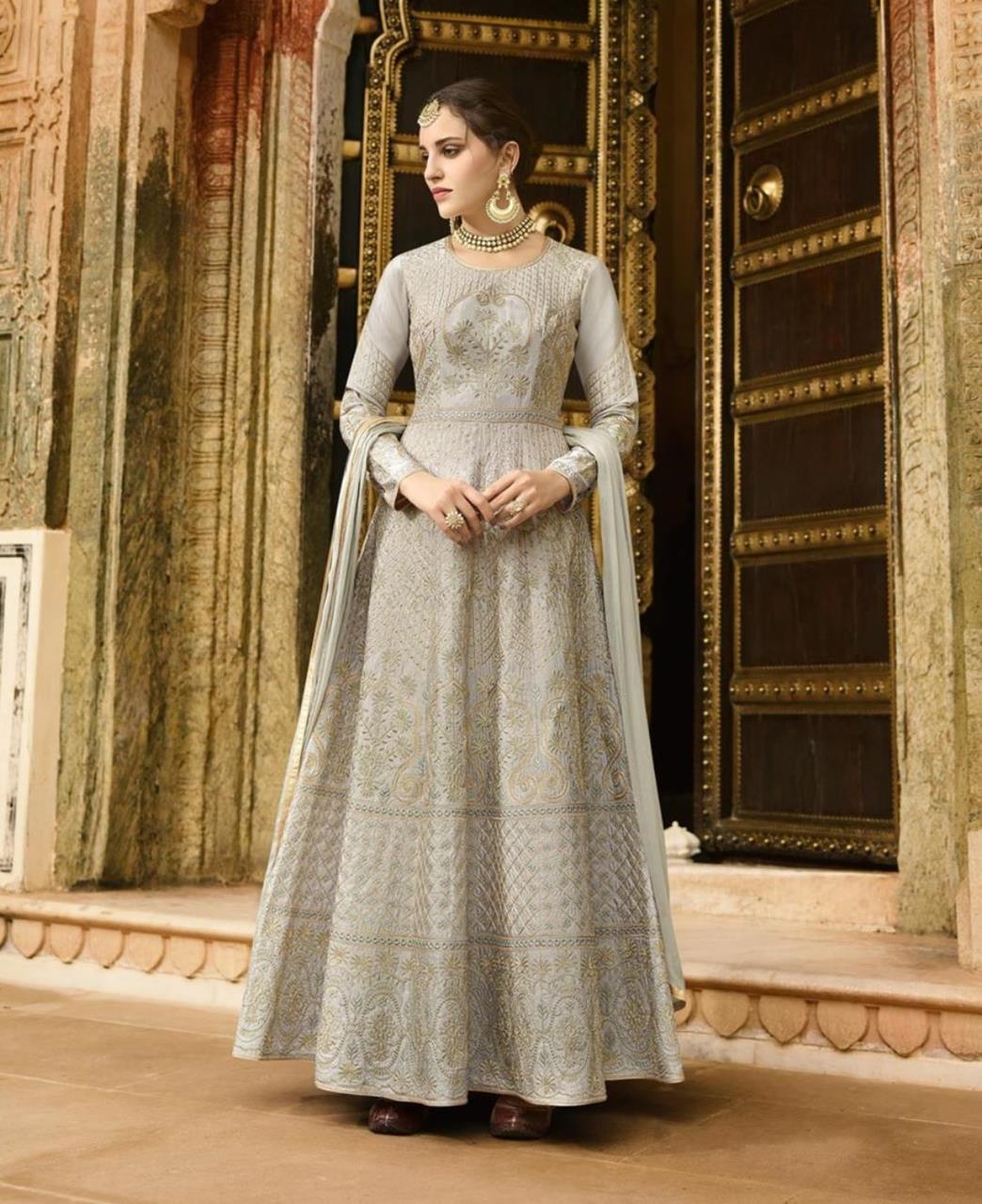Thread Work Art Silk Gray Abaya Style Salwar
