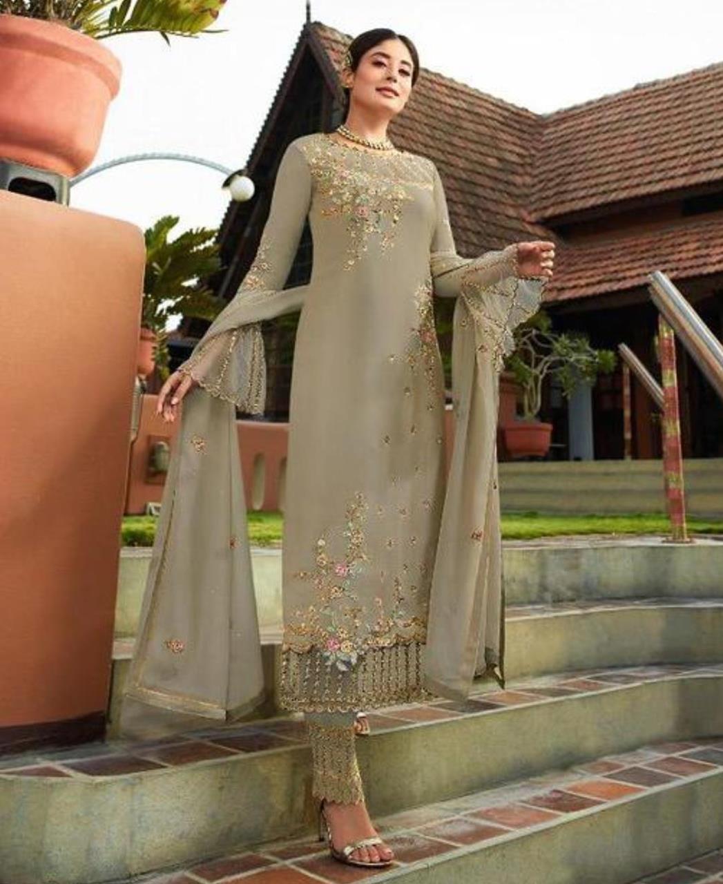 Georgette Straight cut Salwar Kameez in Mehendi Grey