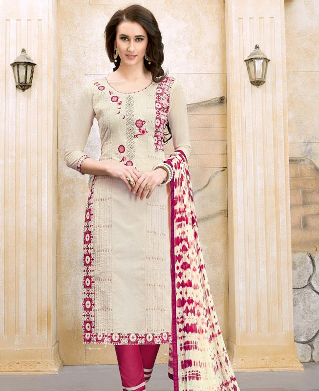 Border Work Chanderi Cotton White Straight Cut Salwar Kameez