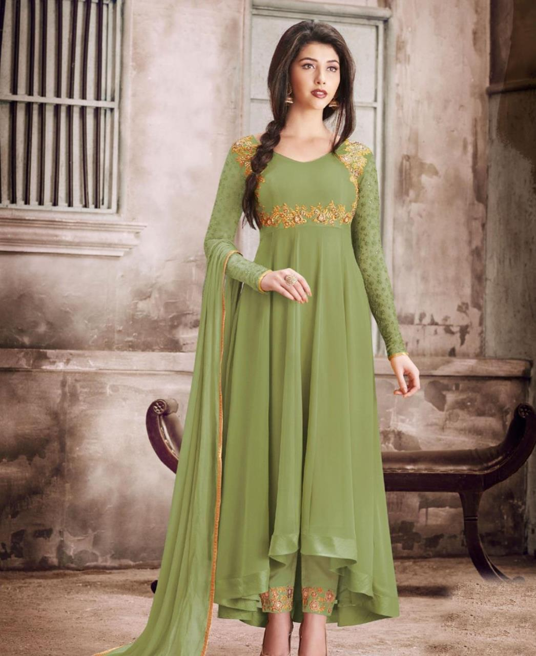 Thread Georgette Abaya Style Salwar in Green