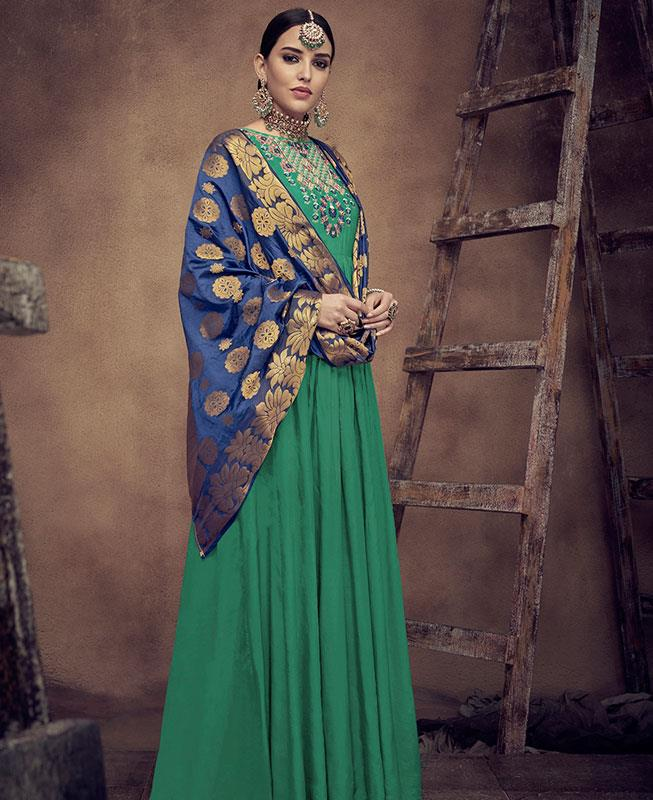 Embroidered Satin Green Abaya Style Salwar