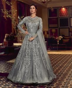 Sequins Silk Abaya Style Salwar in Grey
