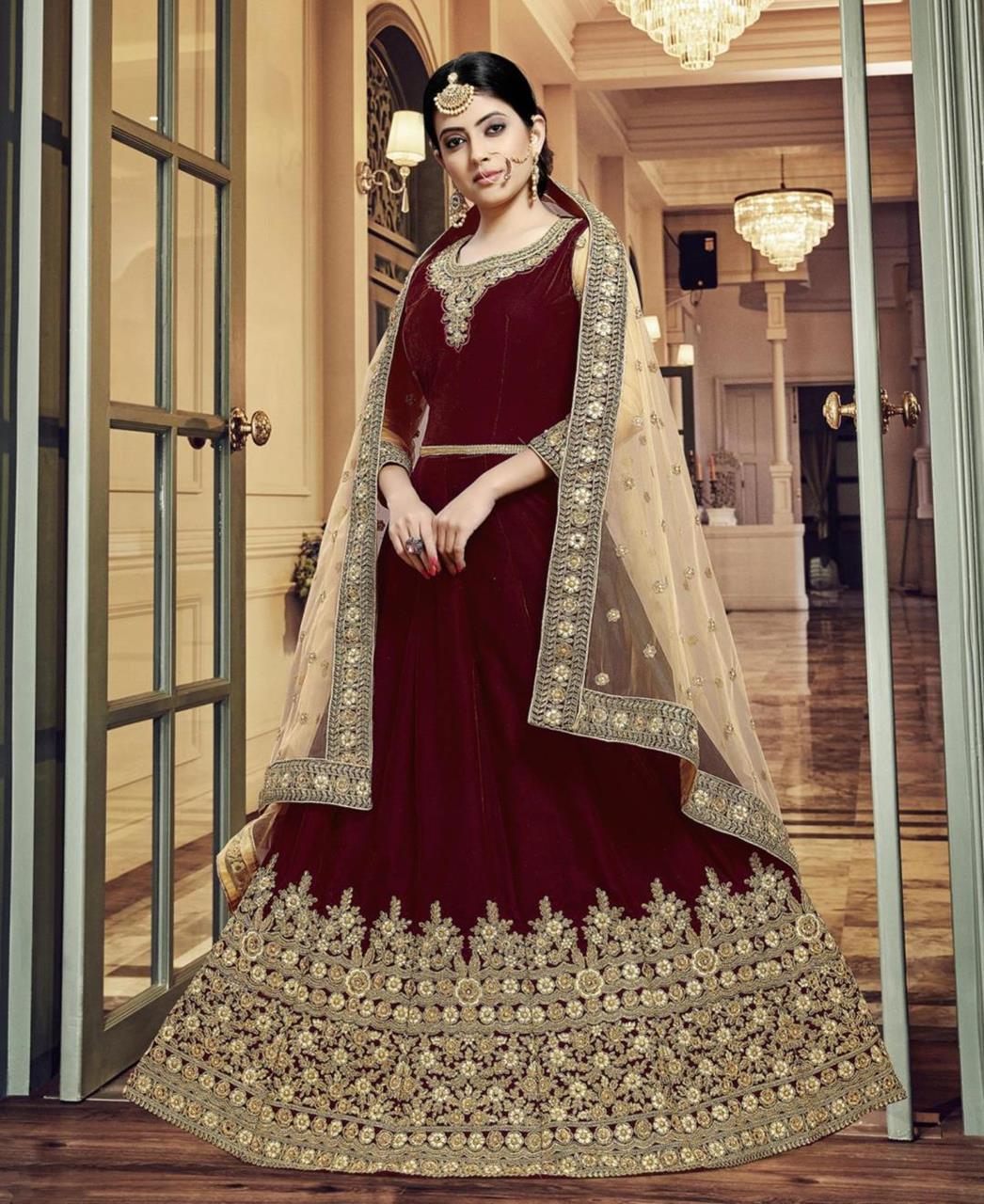 Embroidered Velvet Maroon Abaya Salwar