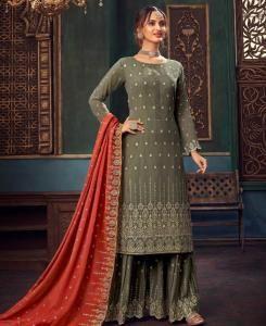 Zari Georgette Straight cut Salwar Kameez in Gray