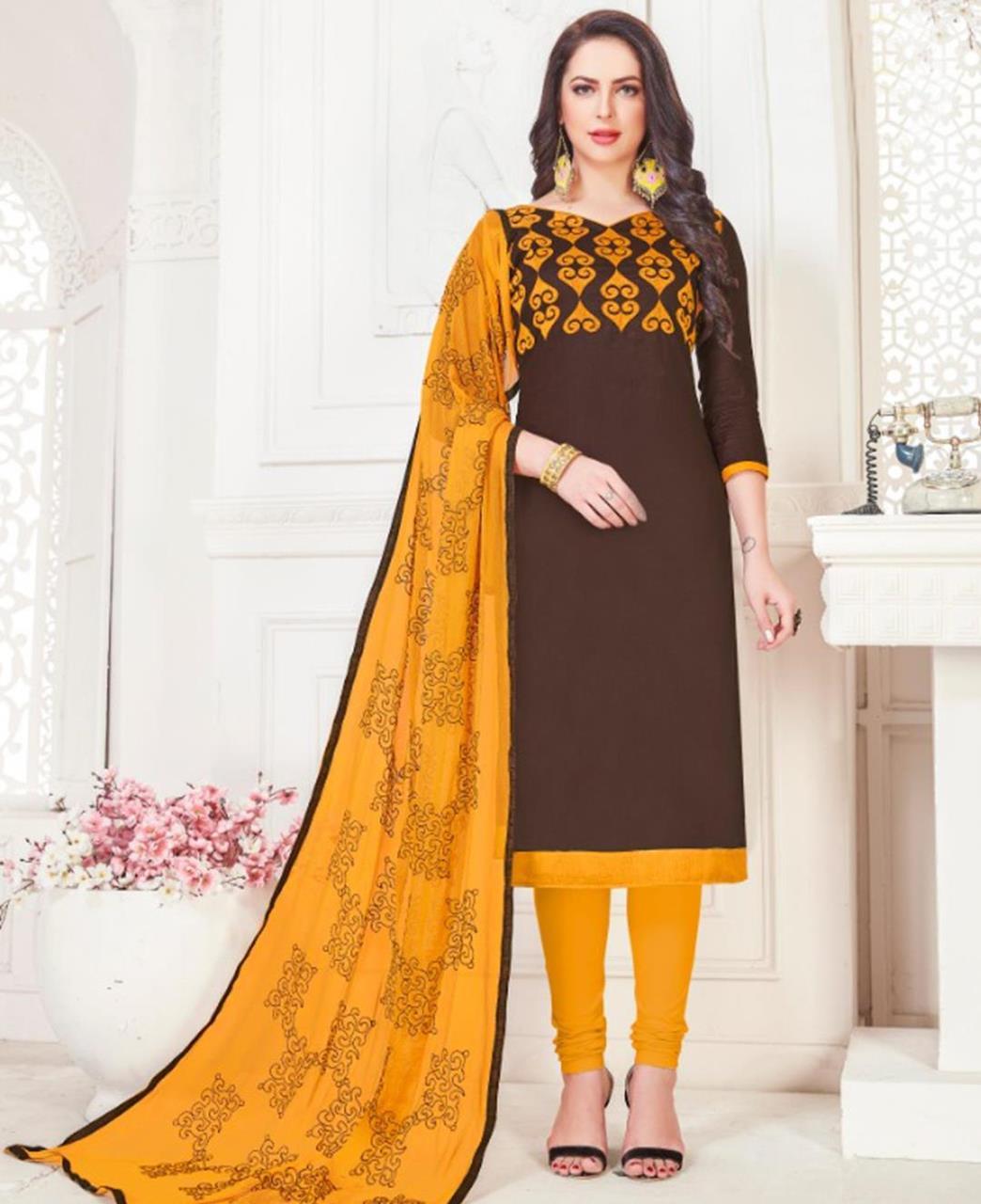 Embroidered Cotton Satin Brown Straight Cut Salwar Kameez