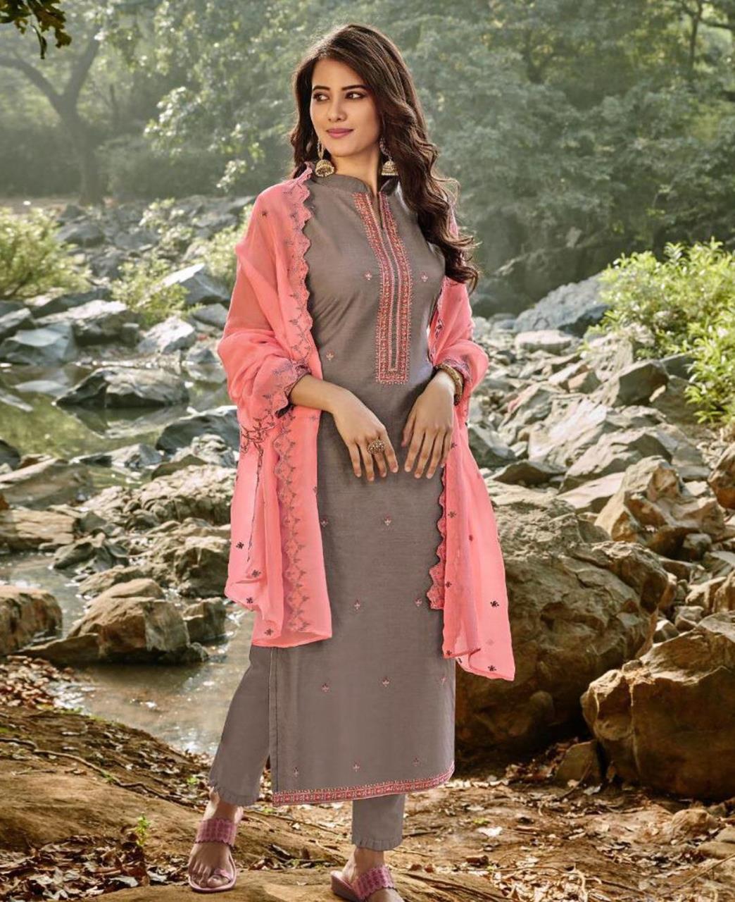 HandWorked Cotton Straight cut Salwar Kameez in Dark Grey