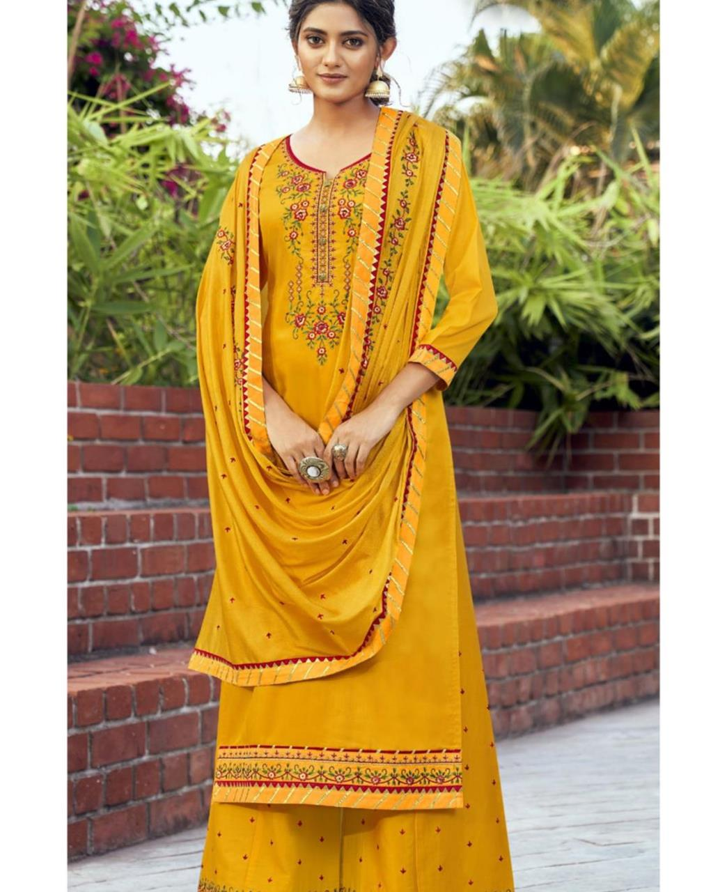 Embroidered Cotton Straight cut Salwar Kameez in Musterd