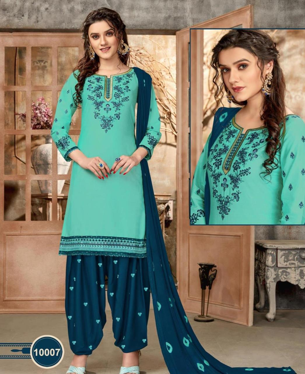 Embroidered Cotton Patiyala Suit Salwar in Light Cyan