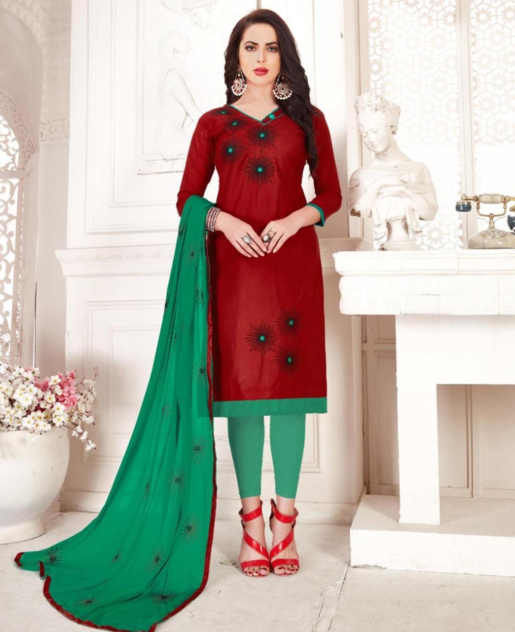 Embroidered Cotton Maroon Straight Cut Salwar