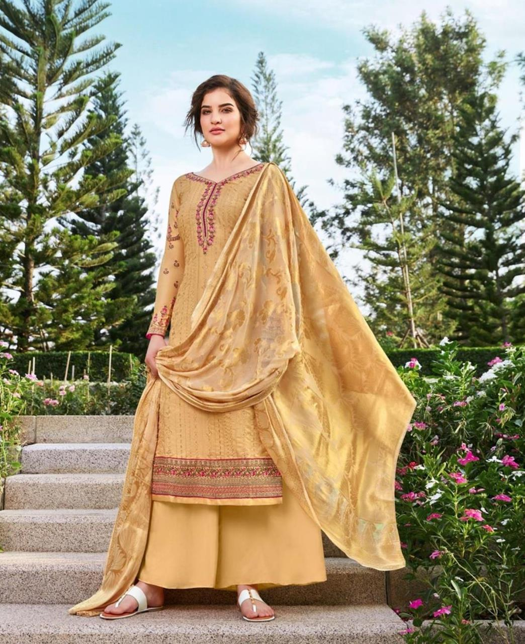 Resham Silk Straight cut Salwar Kameez in Occur Yellow