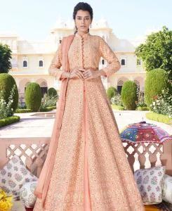 Thread Georgette Straight cut Salwar Kameez in Peach