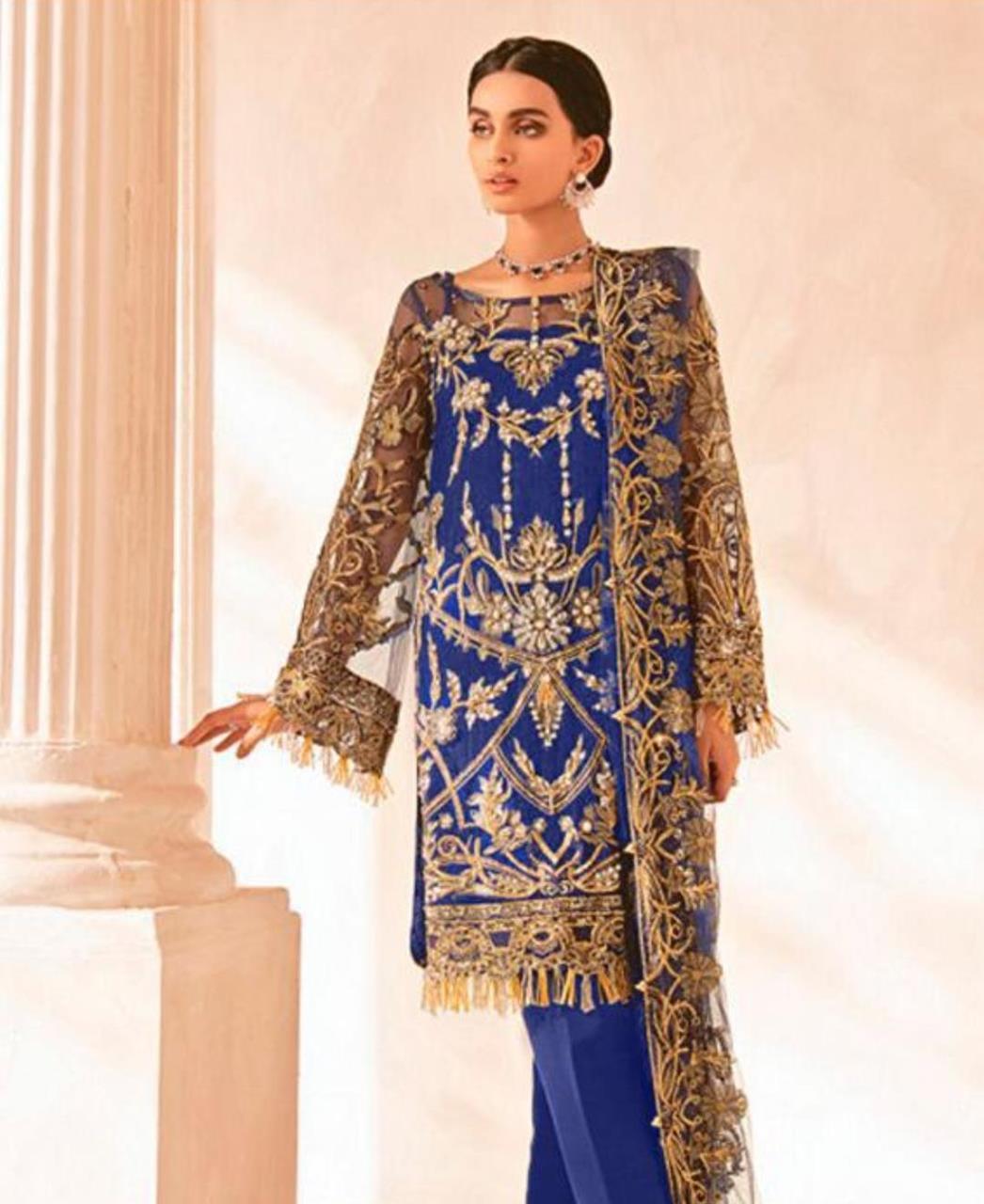 Thread Net Straight cut Salwar Kameez in Blue