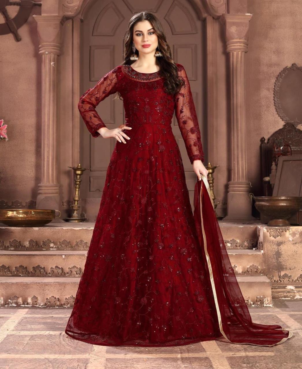 Embroidered Net Red Anarkali Salwar