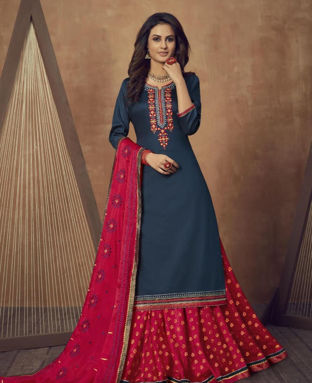 Zari Cotton Abaya Style Salwar in Navy Blue