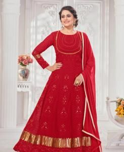 Embroidered Georgette Abaya Style Salwar in Red