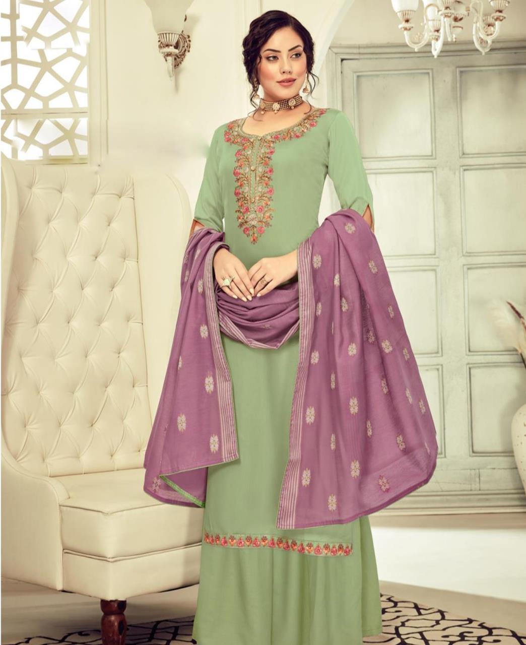 HandWorked Cotton Straight cut Salwar Kameez in Sage