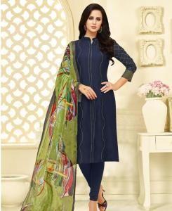 HandWorked Cotton Straight cut Salwar Kameez in Nevy Blue