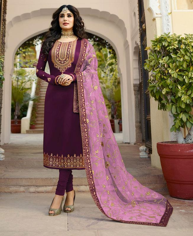 Embroidered Georgette Straight cut Salwar Kameez in Violet