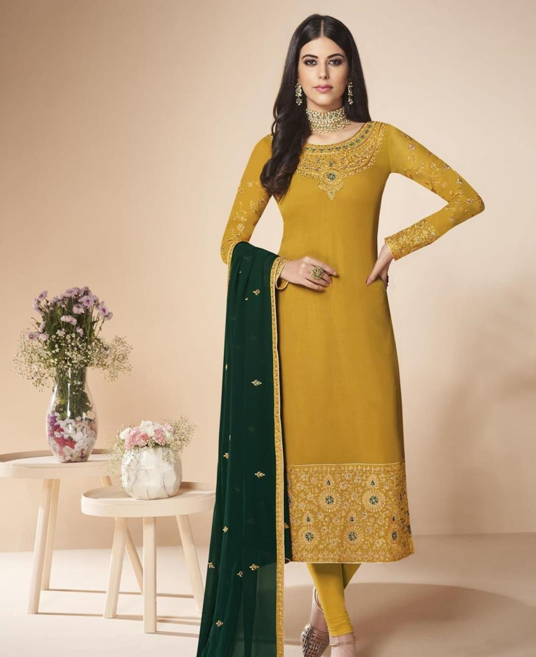 Embroidered Faux Georgette Yellow Straight Cut Salwar