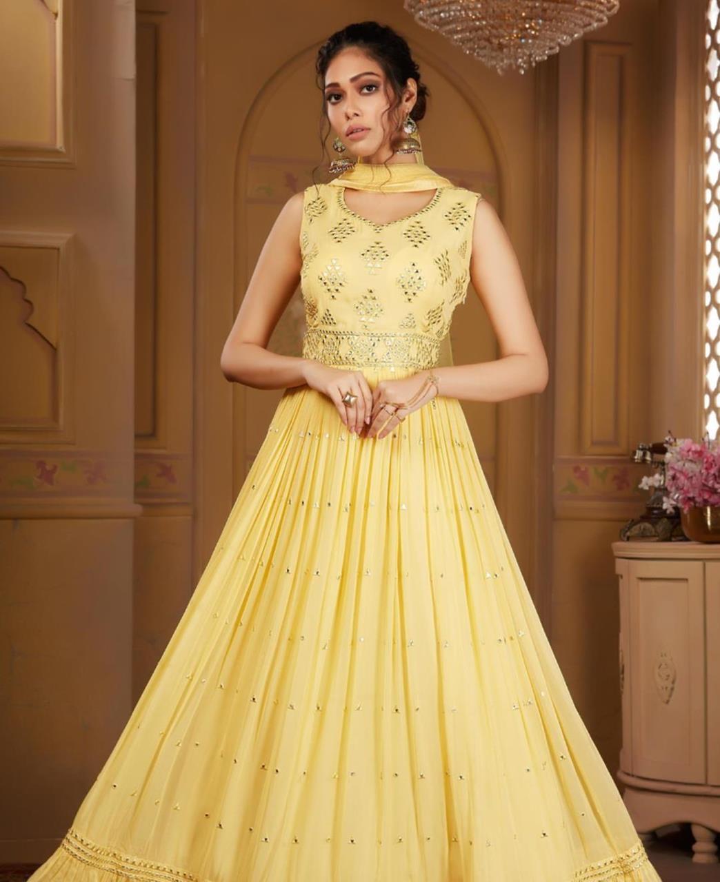 Georgette Straight cut Salwar Kameez in Lemon Yellow