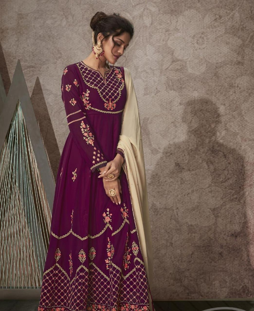 Stone Work Georgette Abaya Style Salwar in Wine