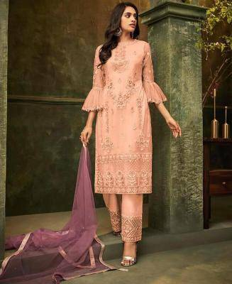 Embroidered Net Orange Palazzo Suit Salwar