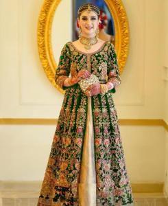 Embroidered Net Abaya Style Salwar in Green