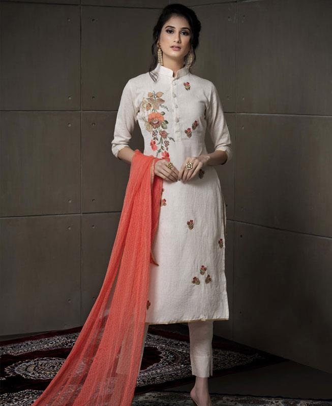 Embroidered Cotton Offwhite Straight cut Salwar