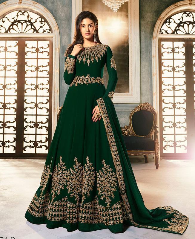 Embroidered Faux Georgette Green Abaya Salwar