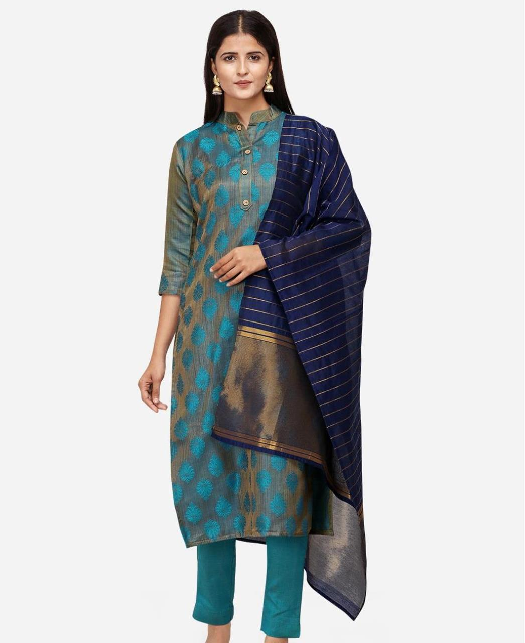 Cotton Straight cut Salwar Kameez in Teal Blue
