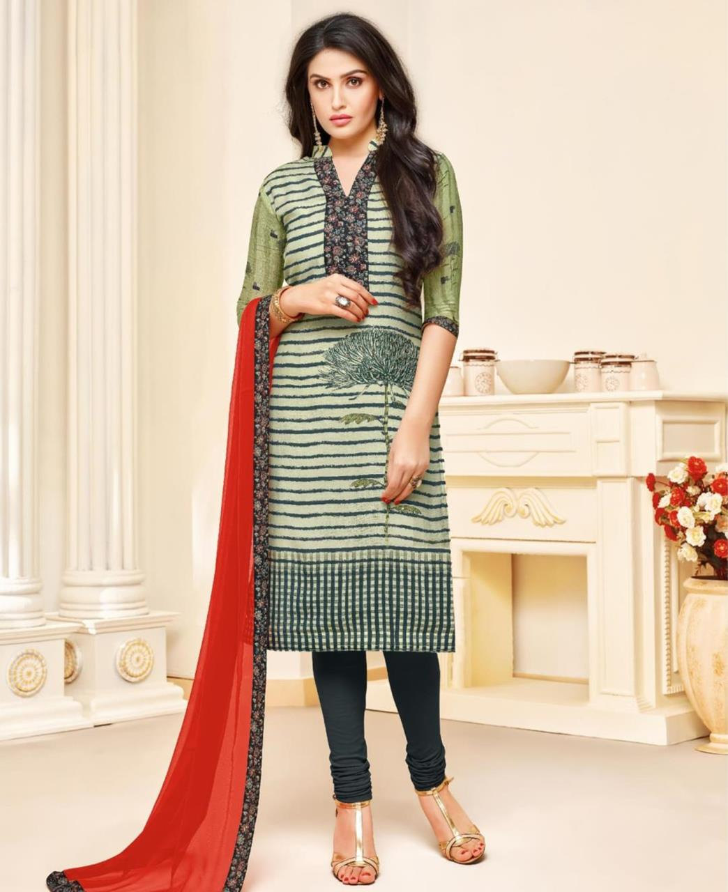 Printed Silk Green Straight Cut Salwar