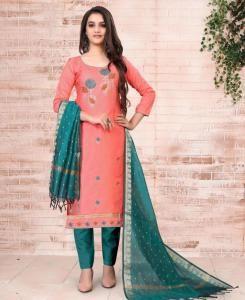 Embroidered Cotton Straight cut Salwar Kameez in Peach