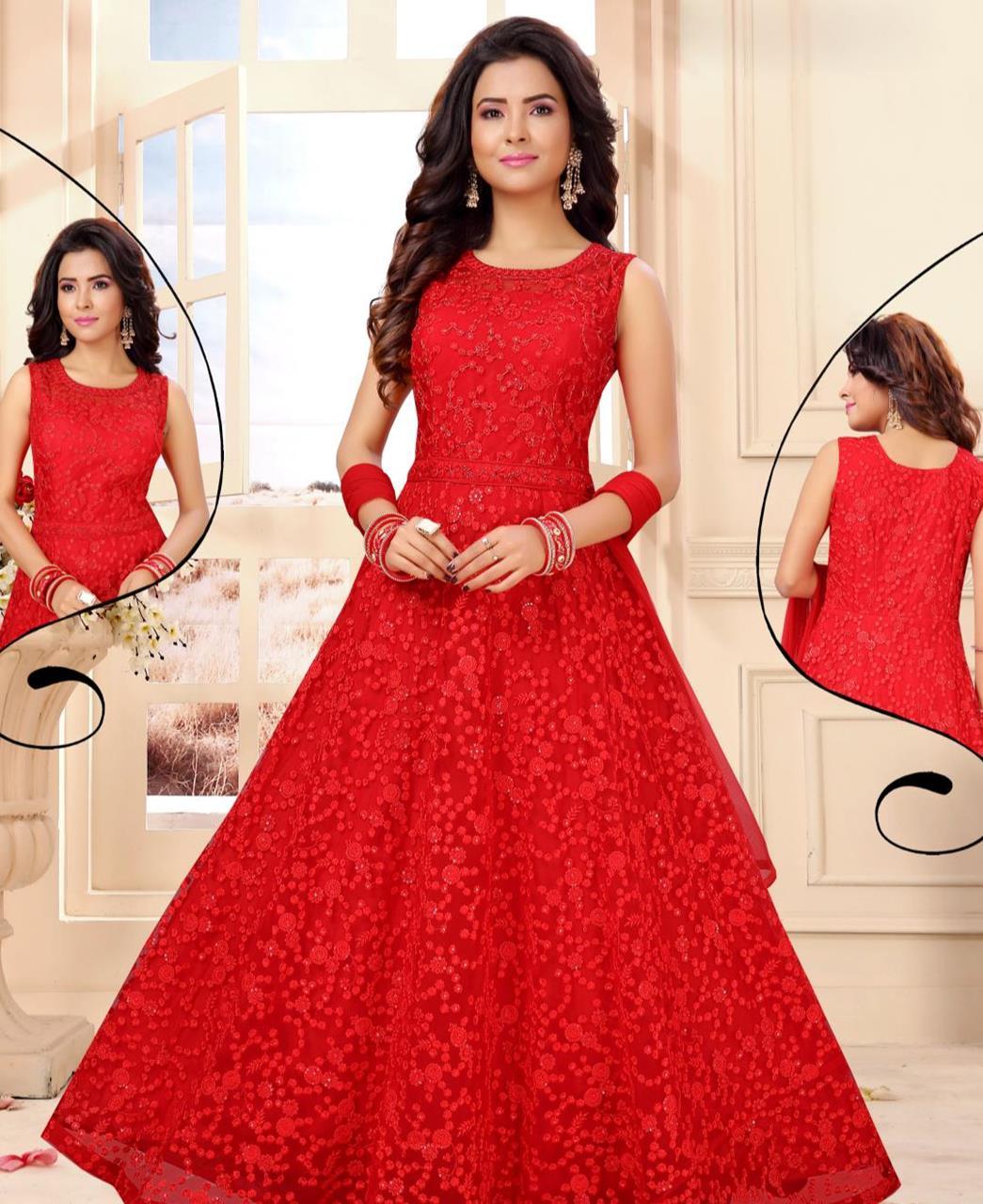 Net Straight cut Salwar Kameez in Red