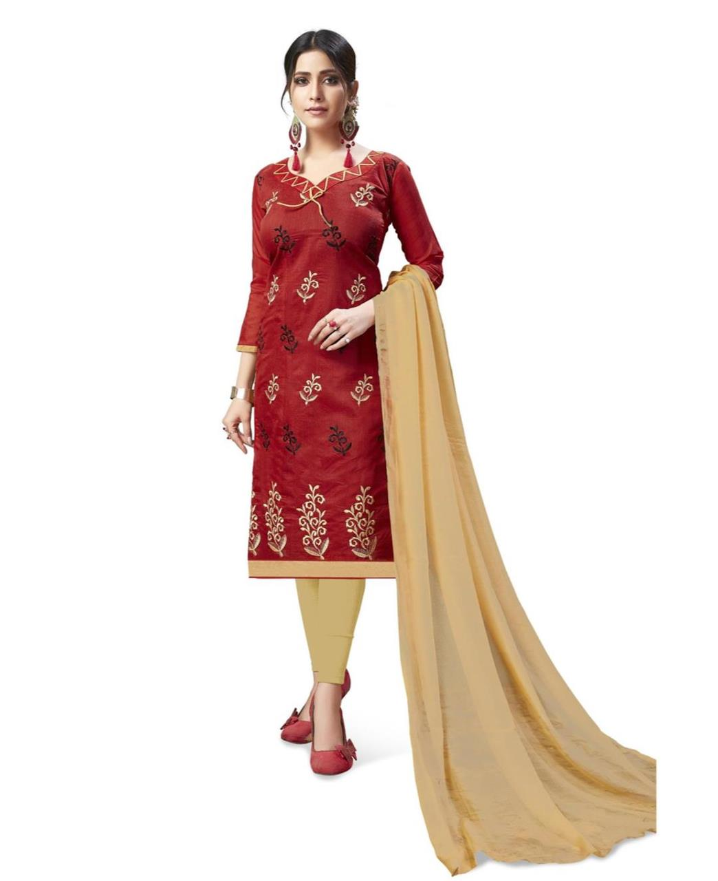 Embroidered Chanderi Maroon Straight Cut Salwar