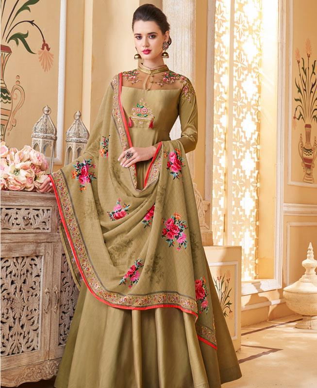 Thread Work Silk OLIVE Abaya Salwar