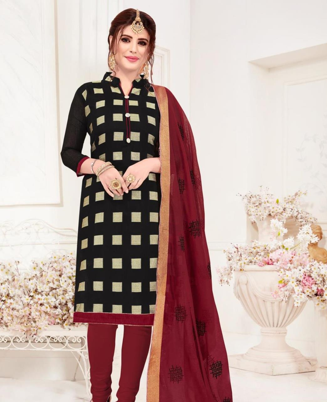 Embroidered Banarasi Silk Black Straight Cut Salwar