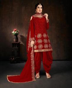 Stone Work Georgette Patiyala Suit Salwar in Maroon