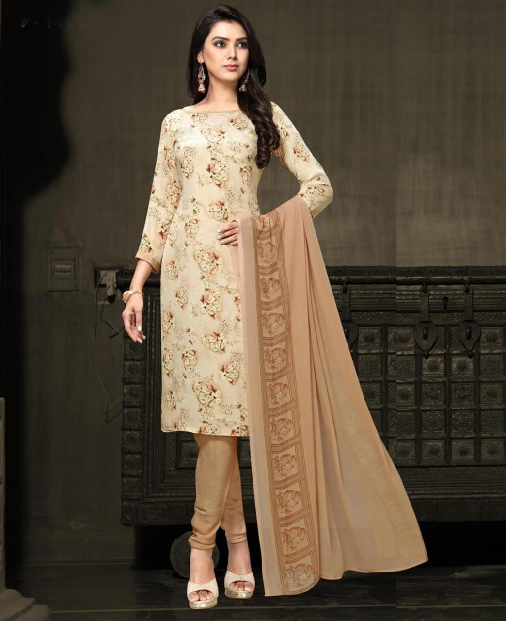 Printed Georgette Straight cut Salwar Kameez in Cream