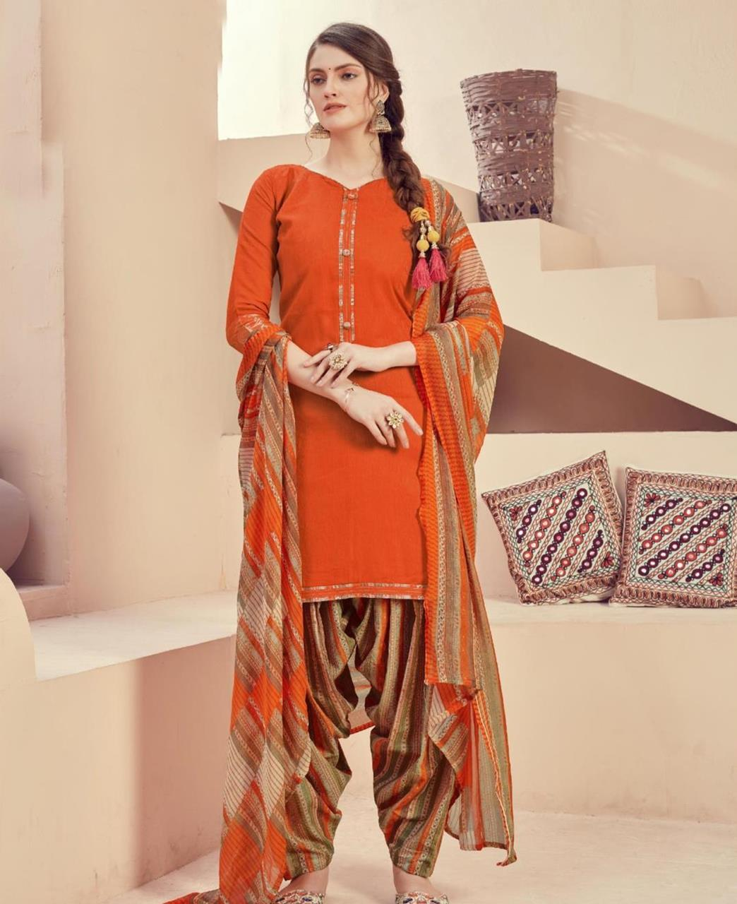 Printed Cotton Patiyala Suit Salwar in Orange