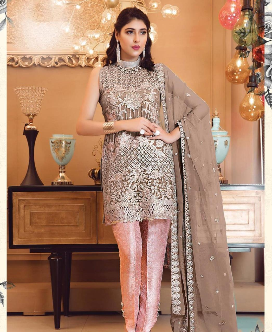 Zari Georgette Straight cut Salwar Kameez in Light Brown