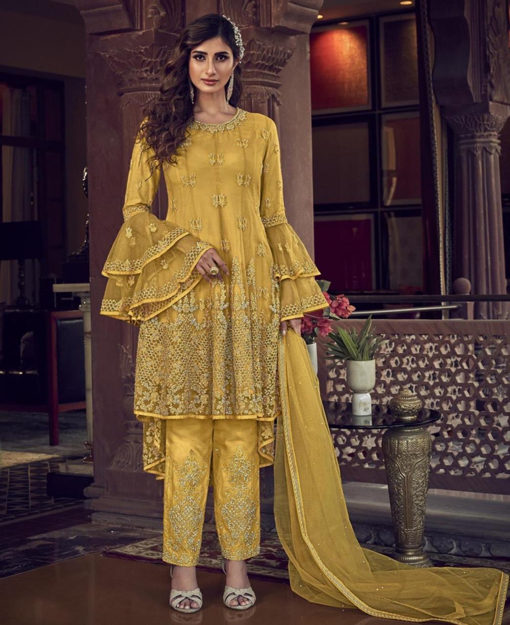 Stone Work Net Straight cut Salwar Kameez in Yellow