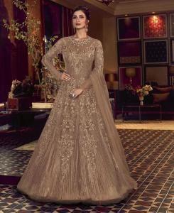 Sequins Silk Abaya Style Salwar in Beige