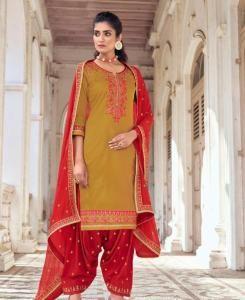 Stone Work Silk Patiyala Suit Salwar in Musterd