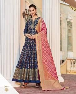 Cotton Straight cut Salwar Kameez in Royal Blue