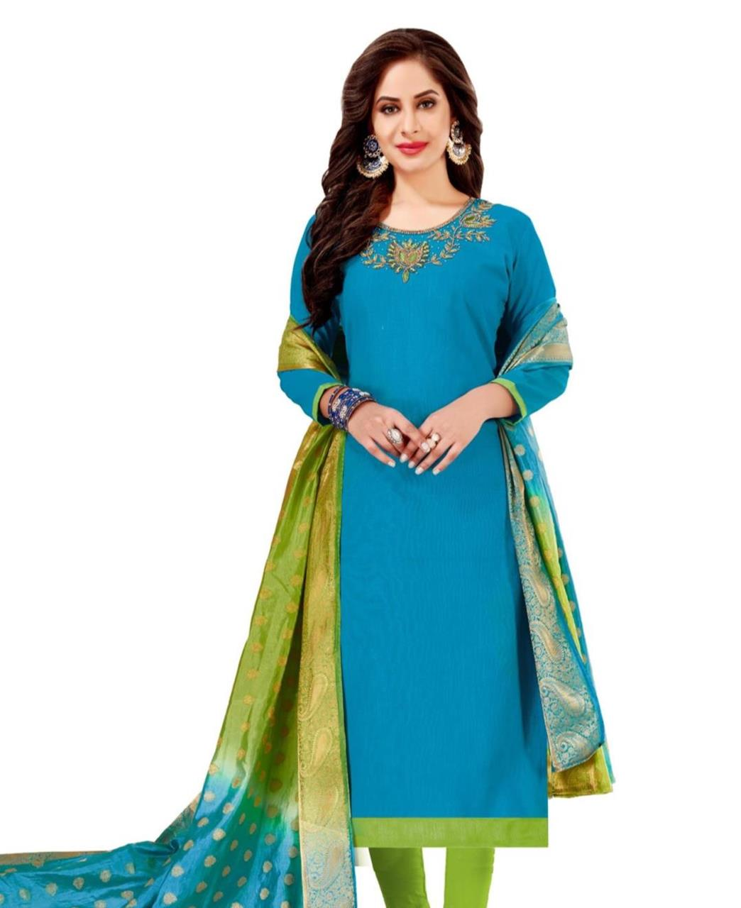 HandWorked Cotton SKYBLUE Straight Cut Salwar