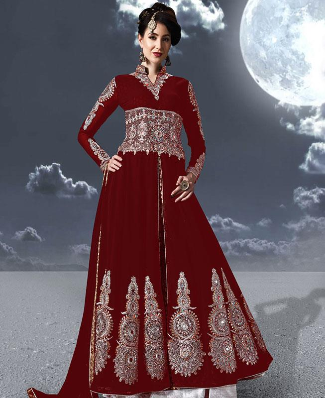 Embroidered Faux Georgette Red Abaya Style Salwar