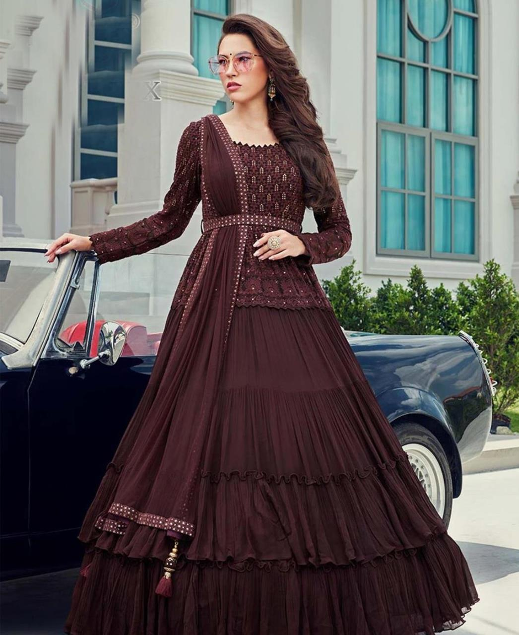 Stone Work Georgette Abaya Style Salwar in Coffee
