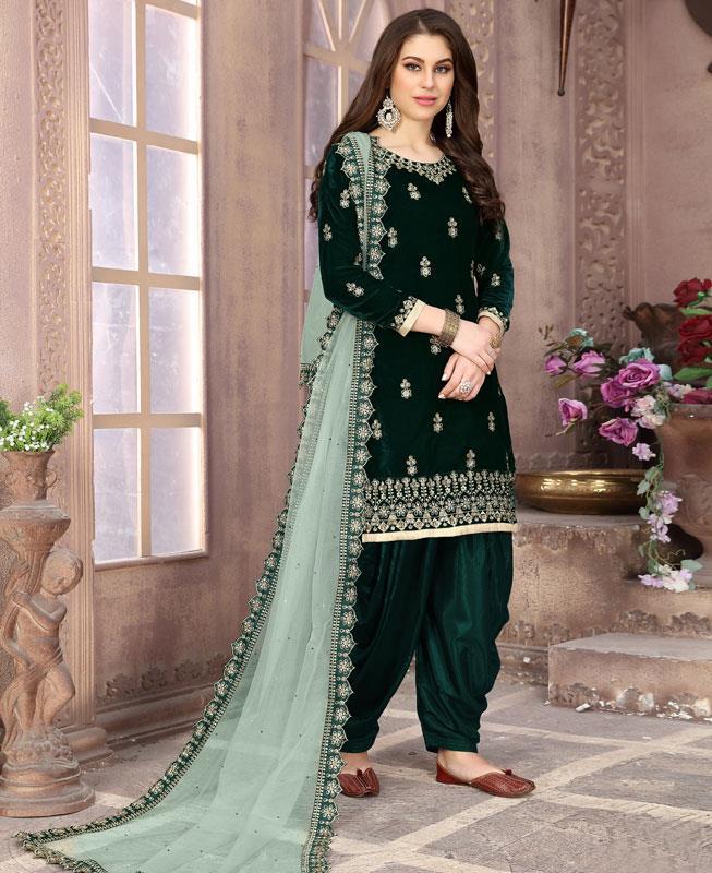 Embroidered Velvet Green Patiyala Suit Salwar