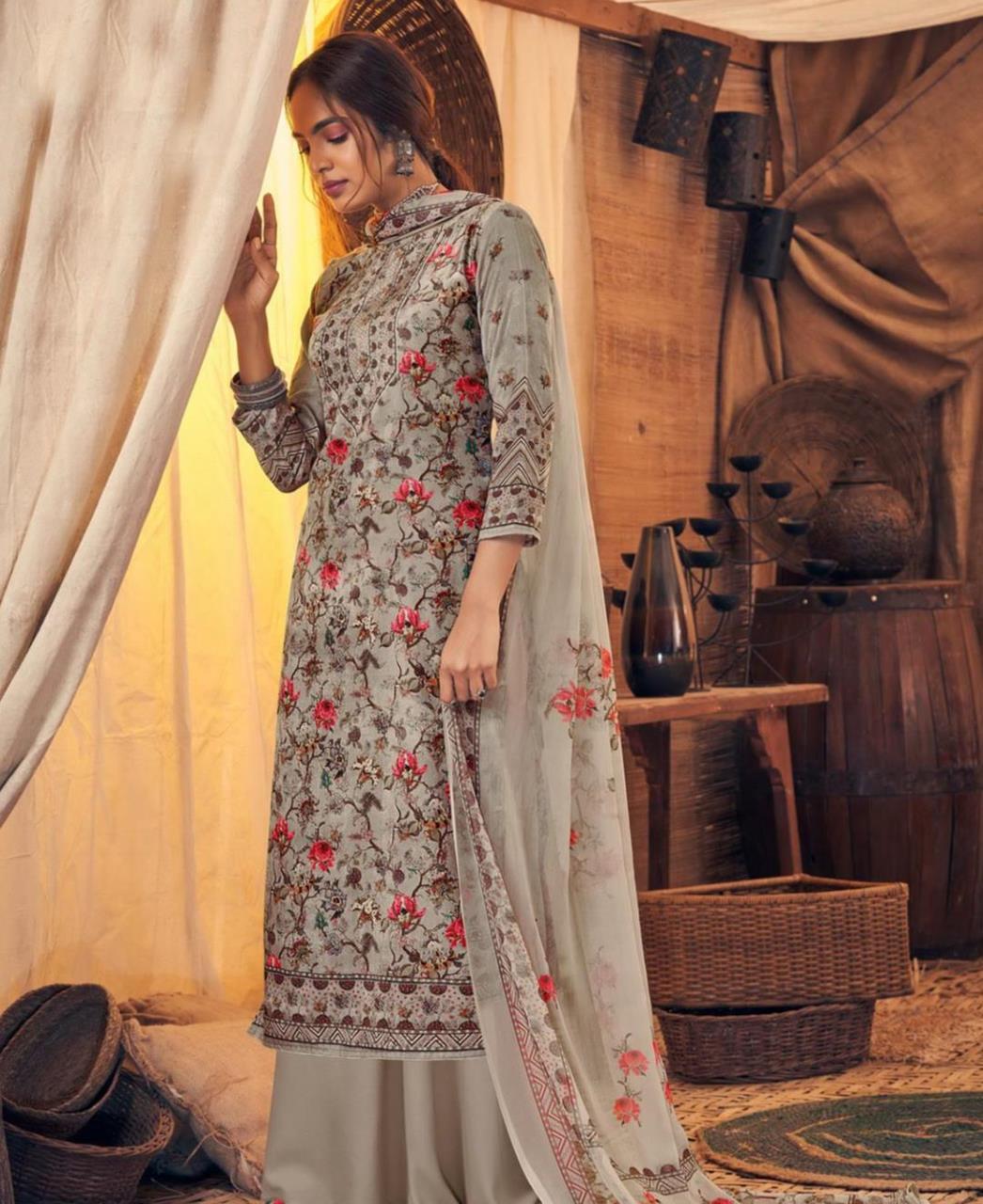 Printed Velvet Straight cut Salwar Kameez in Grey